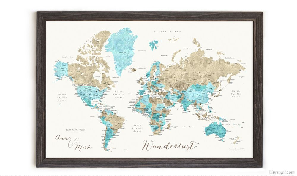 10 off all personalized framed push pin maps blursbyai off all personalized framed push pin maps blursbyai turquoise and brown world map with cities capitals countries and states labelled gumiabroncs Images