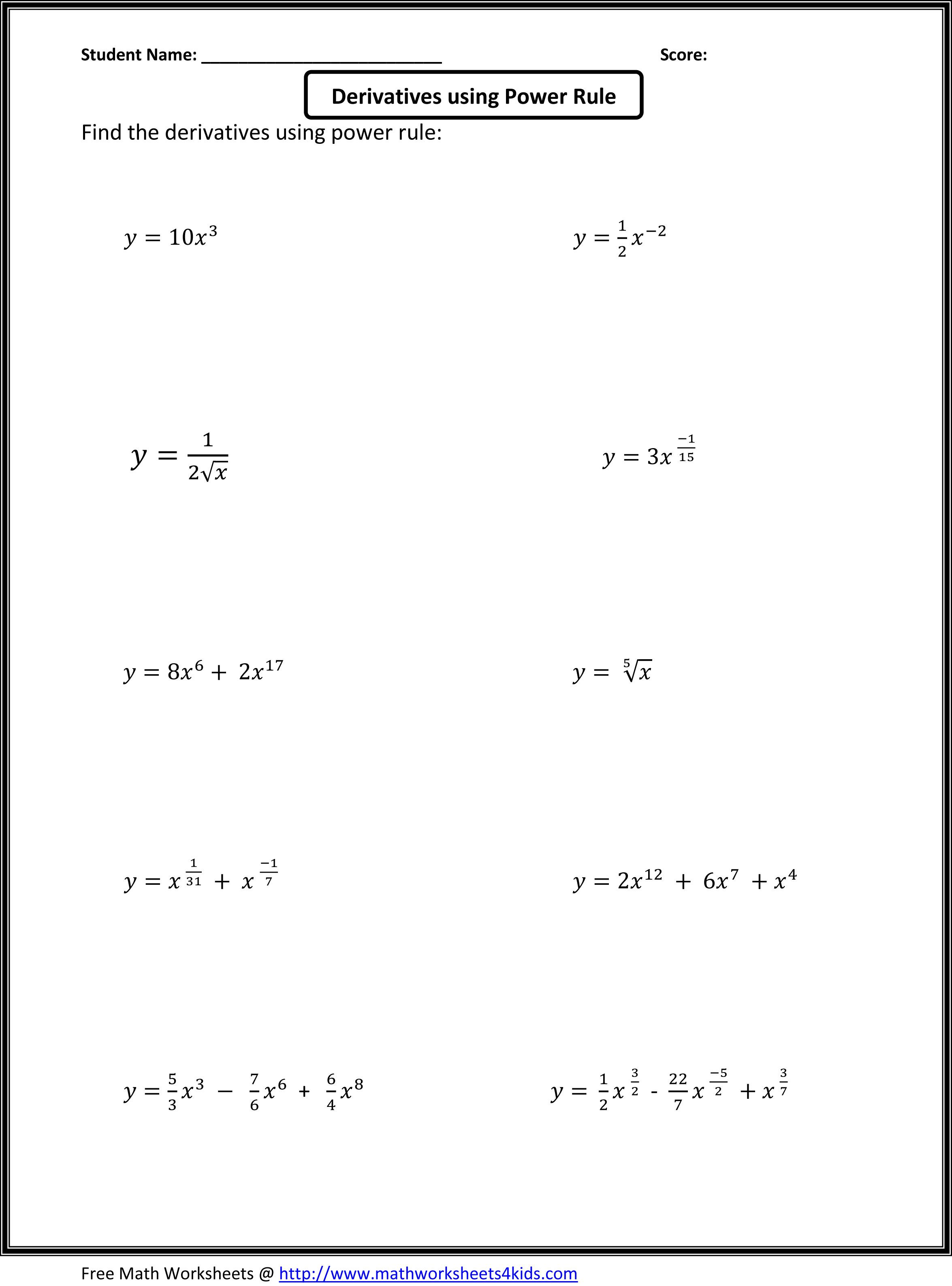 Basic Calculus Worksheets For Higher Grade Students