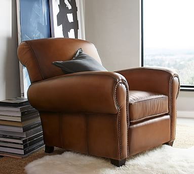 Manhattan Leather Armchair With Bronze Nailheads, Polyester Wrapped  Cushions, Burnished Walnut