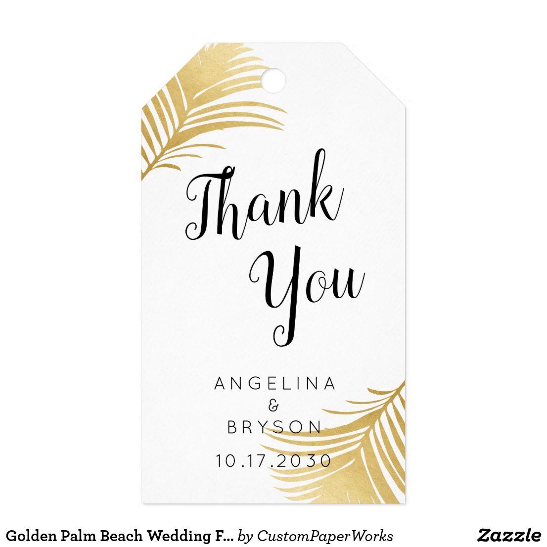 Golden Palm Beach Wedding Favor Tags | Boarding pass invitation ...