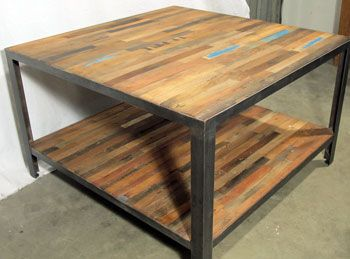 Factory Style Reclaimed Or Salvaged Fishing Boat Wood Square Coffee Table  With Bottom Shelf And Steel