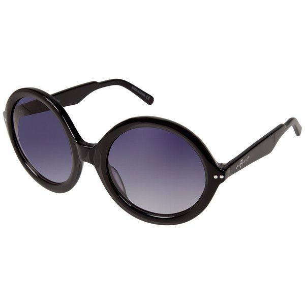 7 For All Mankind Women S Black Round Frame Sunglasses 50 Liked On Polyvore Round Frame