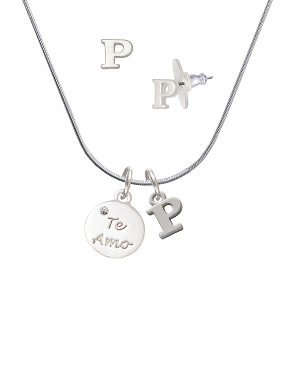 7e2fbef40 Silvertone Te Amo Disc - P Initial Charm Necklace and Stud Earrings Jewelry  Set -- Wonderful of you to drop by to see the image.