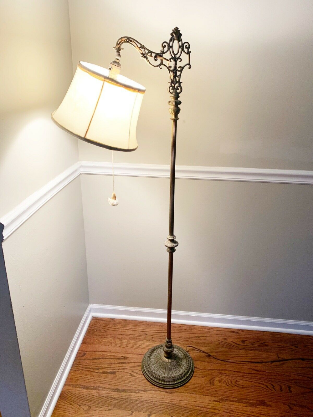 Findlay Spanish Revival 1920s Bridge Arm Floor Lamp Antique Scrollwork Designers In 2020 Metal Lamp Shade Candle Lampshade Glass Lamp Shade