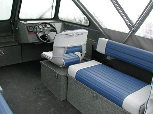 Long Bench With Tempress Captain Seat Boat Storage Power Boats Boat Seats