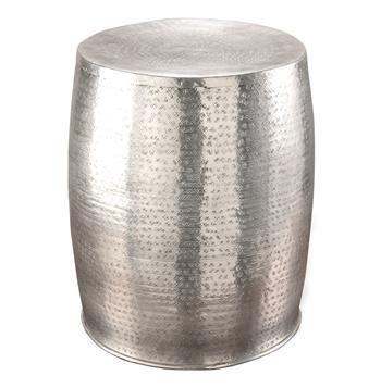 Great Karis Antique Silver Hammered Metal Garden Stool Side Table