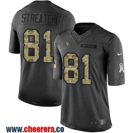 Men's San Francisco 49ers #81 Rod Streater Black Anthracite 2016 Salute To Service Stitched NFL Nike Limited Jersey