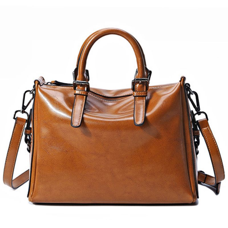 Korean Brands Vintage Genuine Leather Bag For Lady High Quality Famous Designer Women Leather Handba Genuine Leather Bags Leather Shoulder Bag Luxury Tote Bags