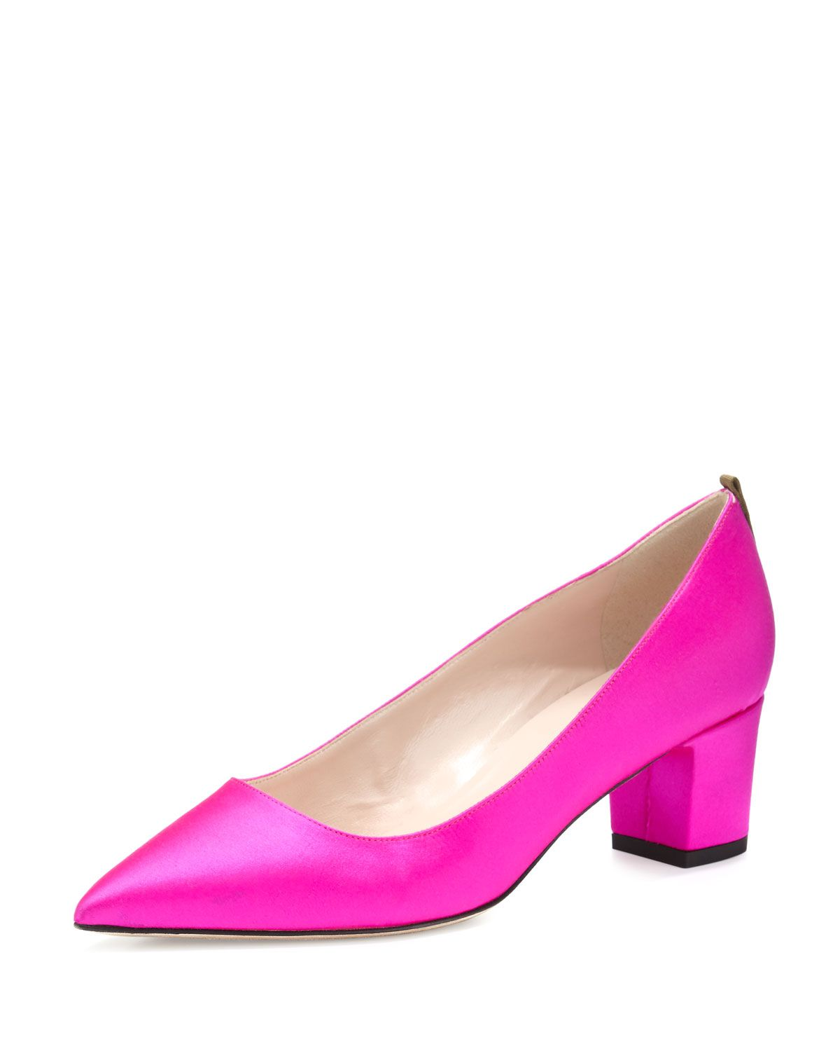 Katrina Satin Pointed-Toe Pump, Fuchsia