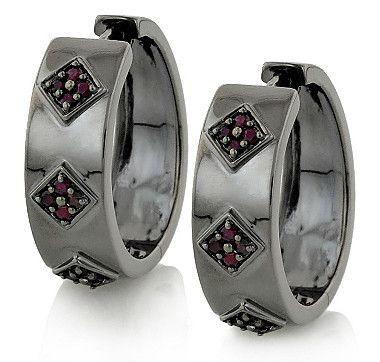 Tracey Bregman Sterling Silver & Black Rhodium Plate Gemstone Hoop Earrings - RUBY