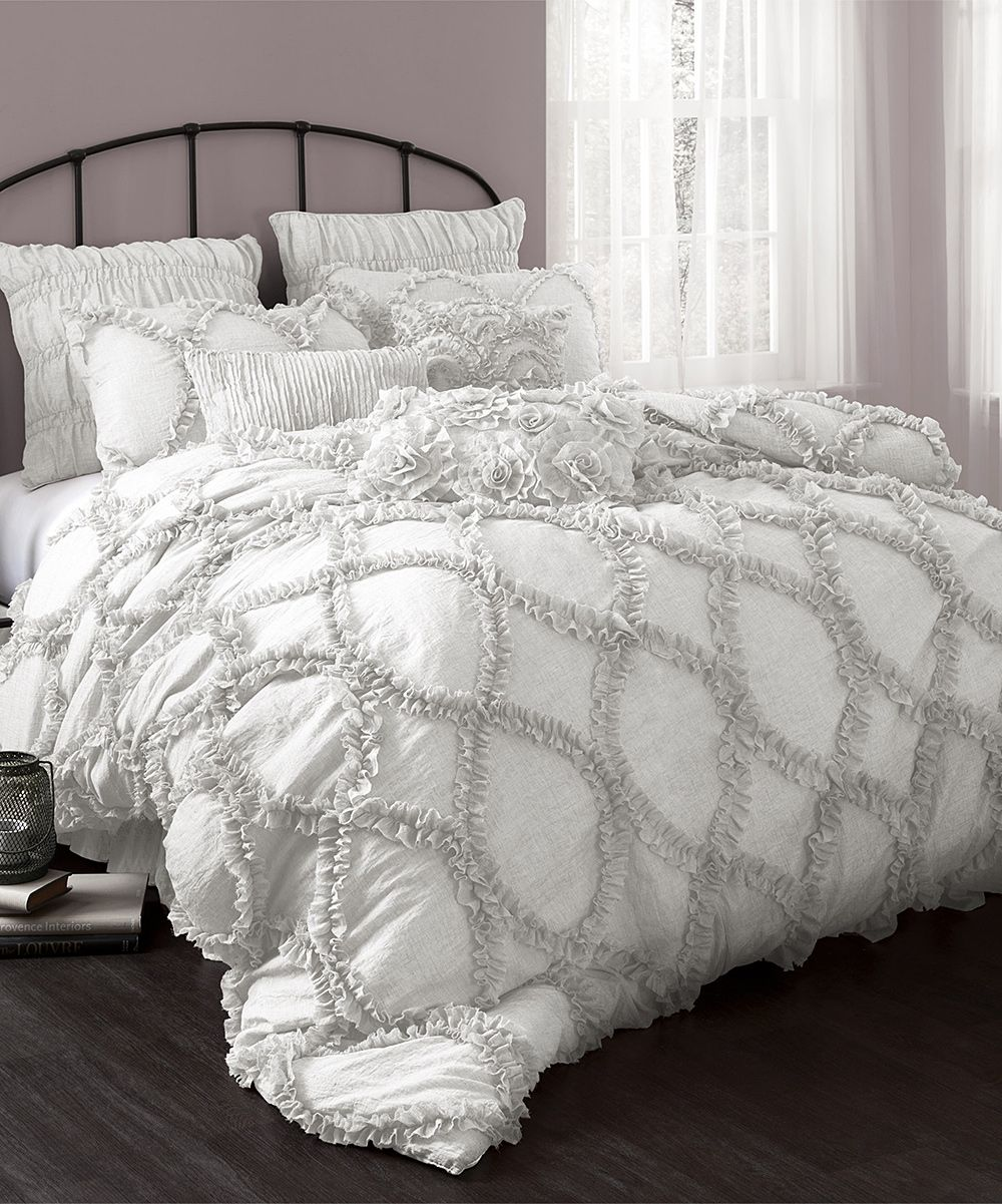 White Ruched Gitter Duvet Cover Set Comforter Sets Bedding Sets