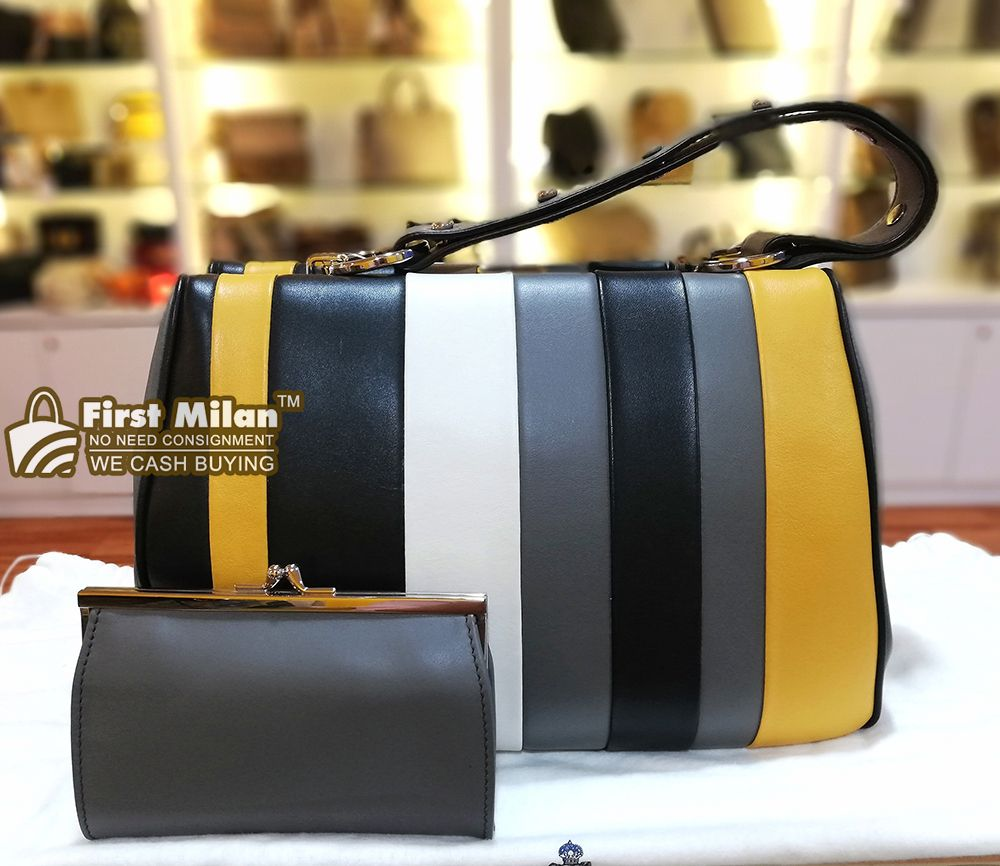8ac2bf188f PRADA Baiadera Frame Striped Leather Tote Bag. Best Price ~ RM4