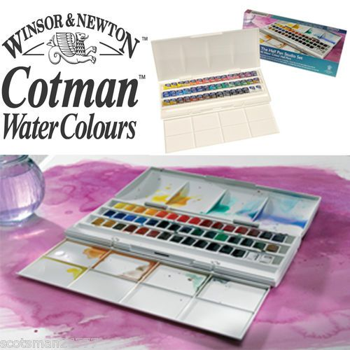 Winsor Newton Cotman Watercolour 45 Studio Half Pan Set Paint Art