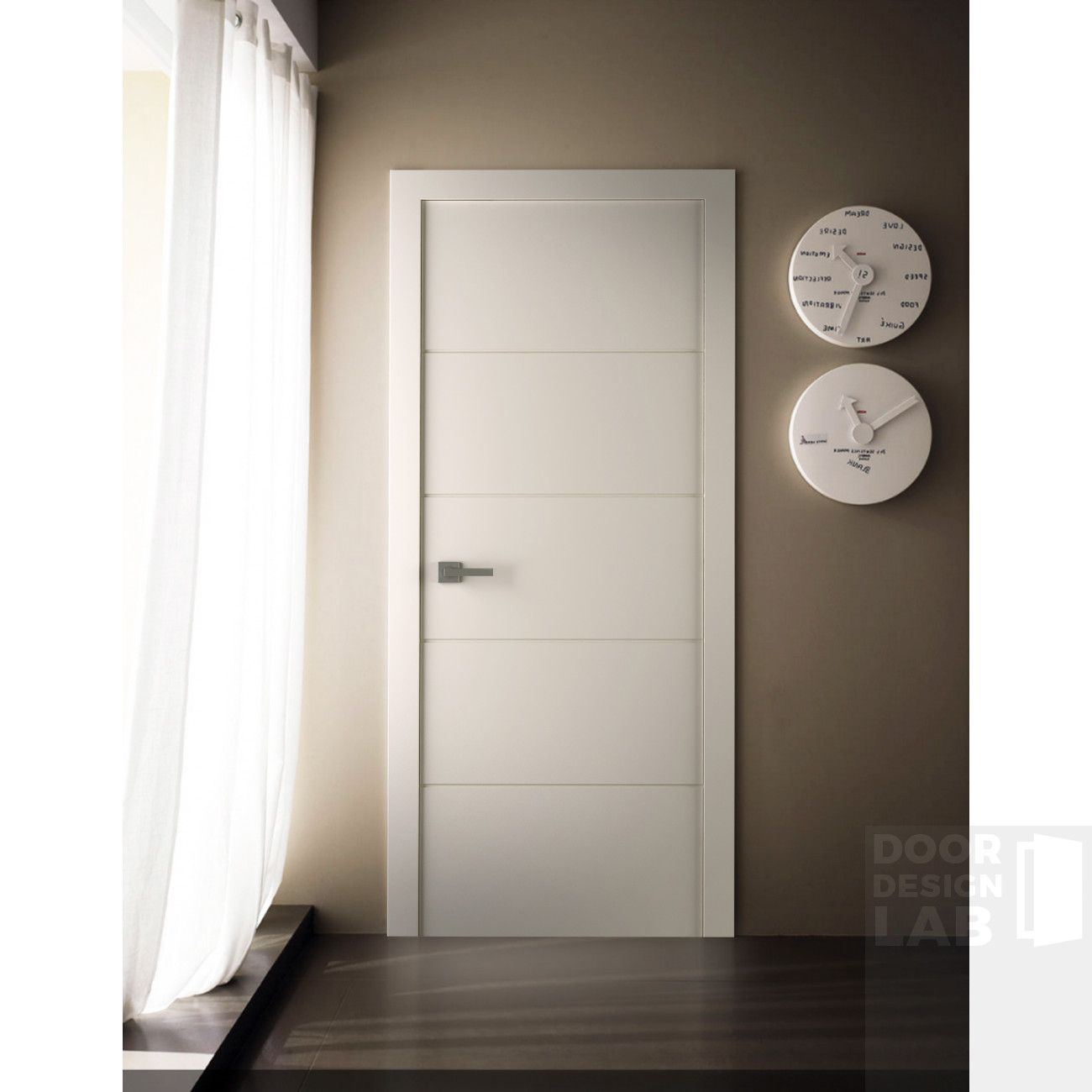 Arvika Polar White Modern Interior Door Scandinavian Style Flat Solid Core Painted White Sound Proof 4 Horizontal Grooves Belldinni Doors Interior Modern Doors Interior Interior Door Styles