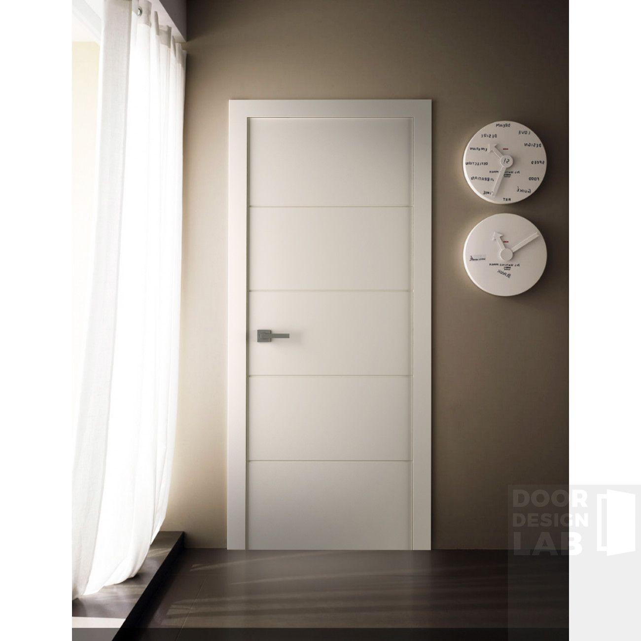 Arvika Polar White Modern Interior Door Scandinavian Style Flat Solid Core Painted White Sound Proof 4 Horizontal Grooves Belldinni Doors Interior Modern Doors Interior Interior Door Styles