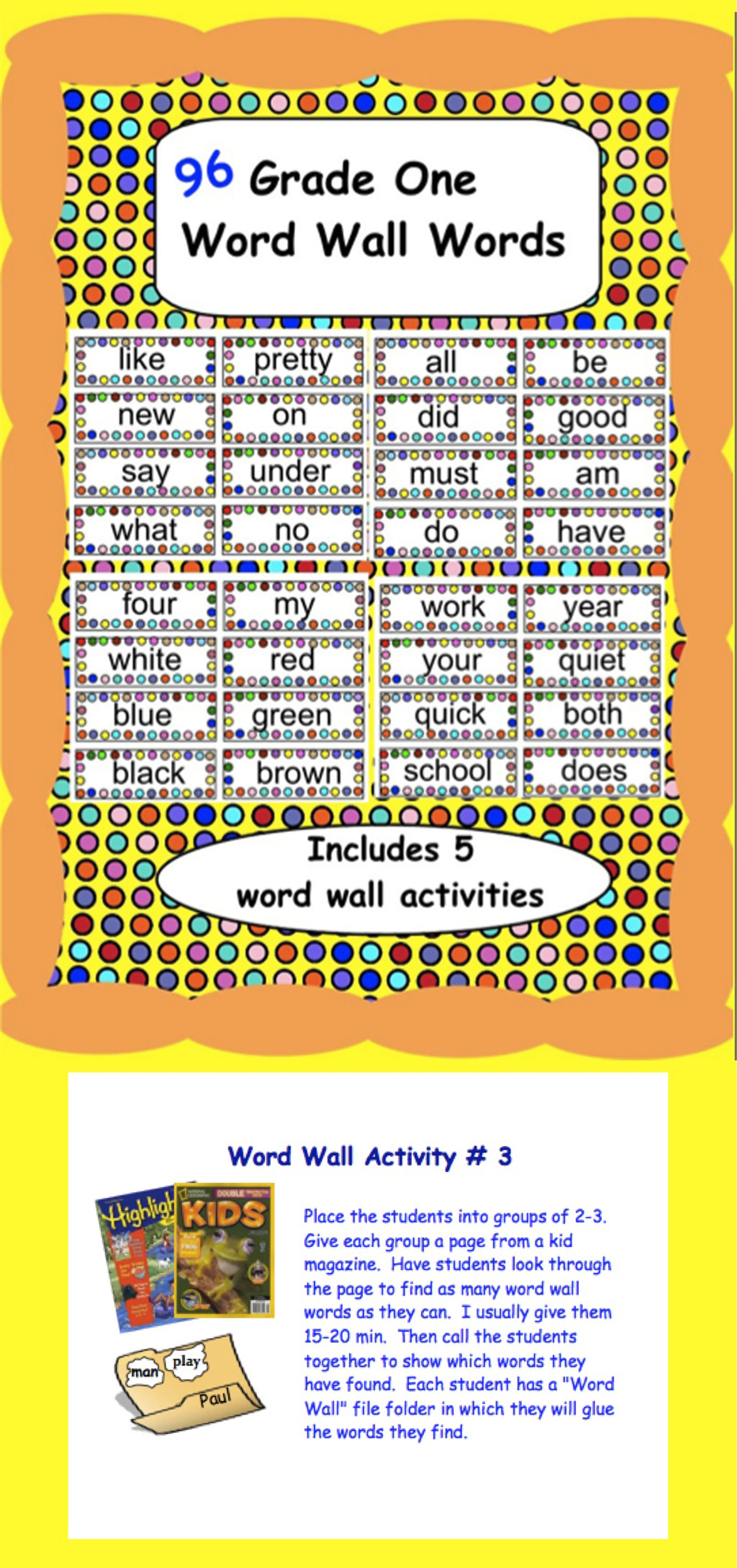 96 Word Wall Words With 5 Activity Ideas