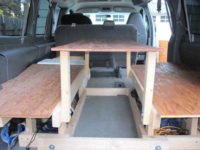 Building The Bed And Table Chevy Express Homemade Camper Van