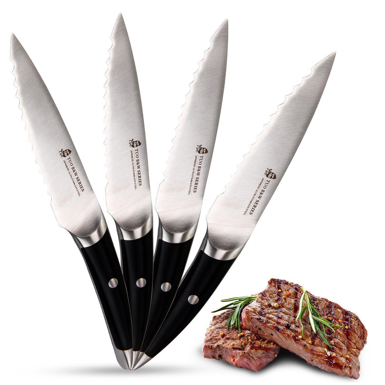 TUO Cutlery B&W Series Serrated Steak Knife Set 4 PCS 5 inch ...