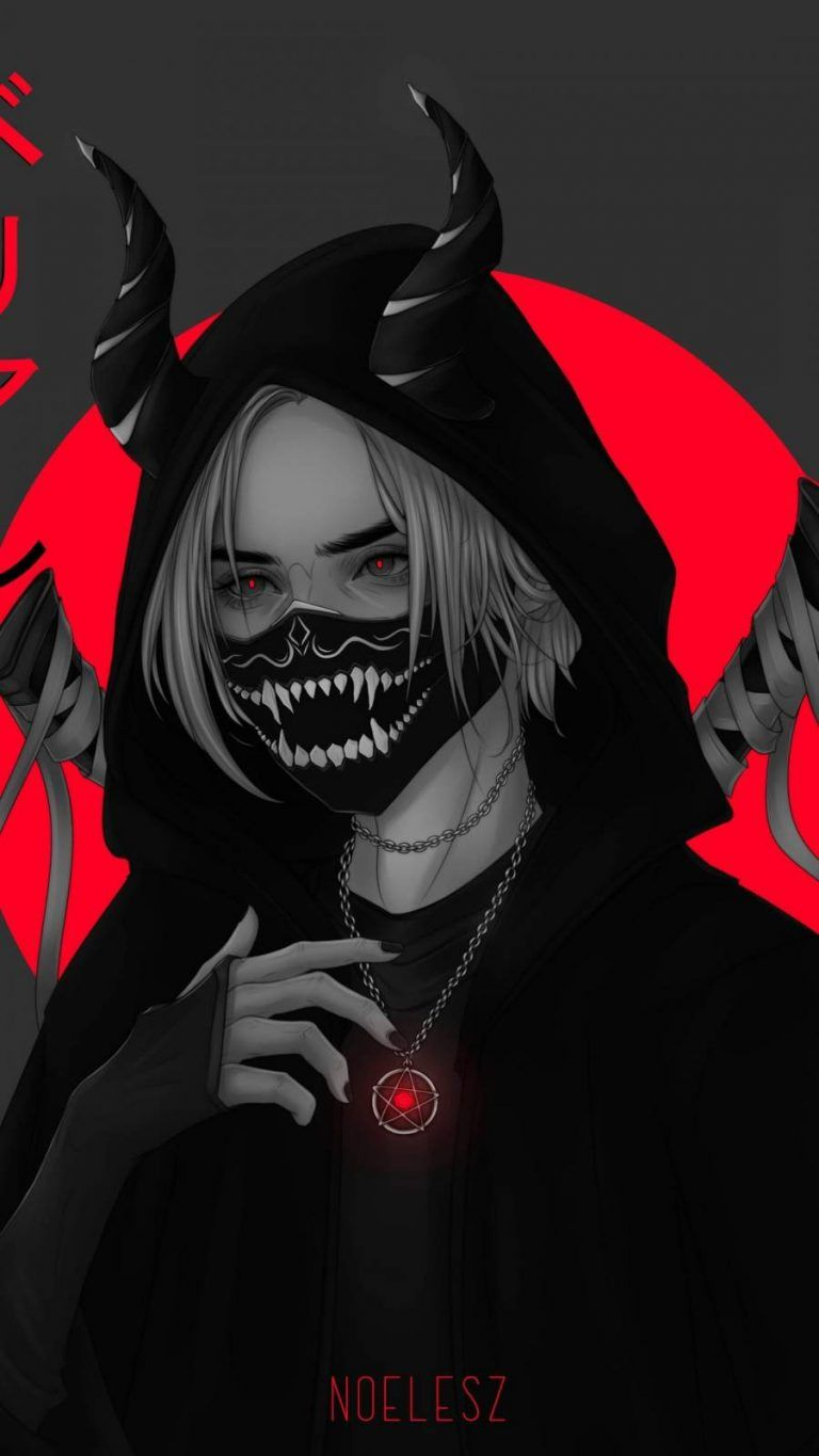 Anime Red Mask Girl Iphone Wallpaper Iphone Wallpapers Iphone Wallpapers Girl Iphone Wallpaper Cute Black Wallpaper Anime Wallpaper Iphone