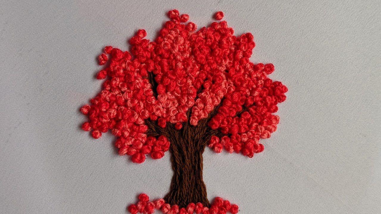 Cherry Blossom Tree Hand Embroidery French Knot Flower Hand Embroidery For Tree Design Stitc Bordado A Mano Bordado Invitaciones De Cumpleanos Originales