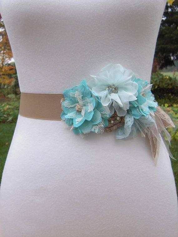 Turquoise Wedding Dress Sash Belt, Aqua Rustic Wedding Sash, Country ...