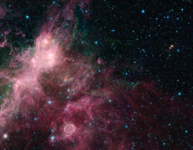 Imagem feita pelo Spitzer lembra corais e algas, segundo astrônomos (Foto: Nasa/JPL-Caltech/University of Wisconsin)