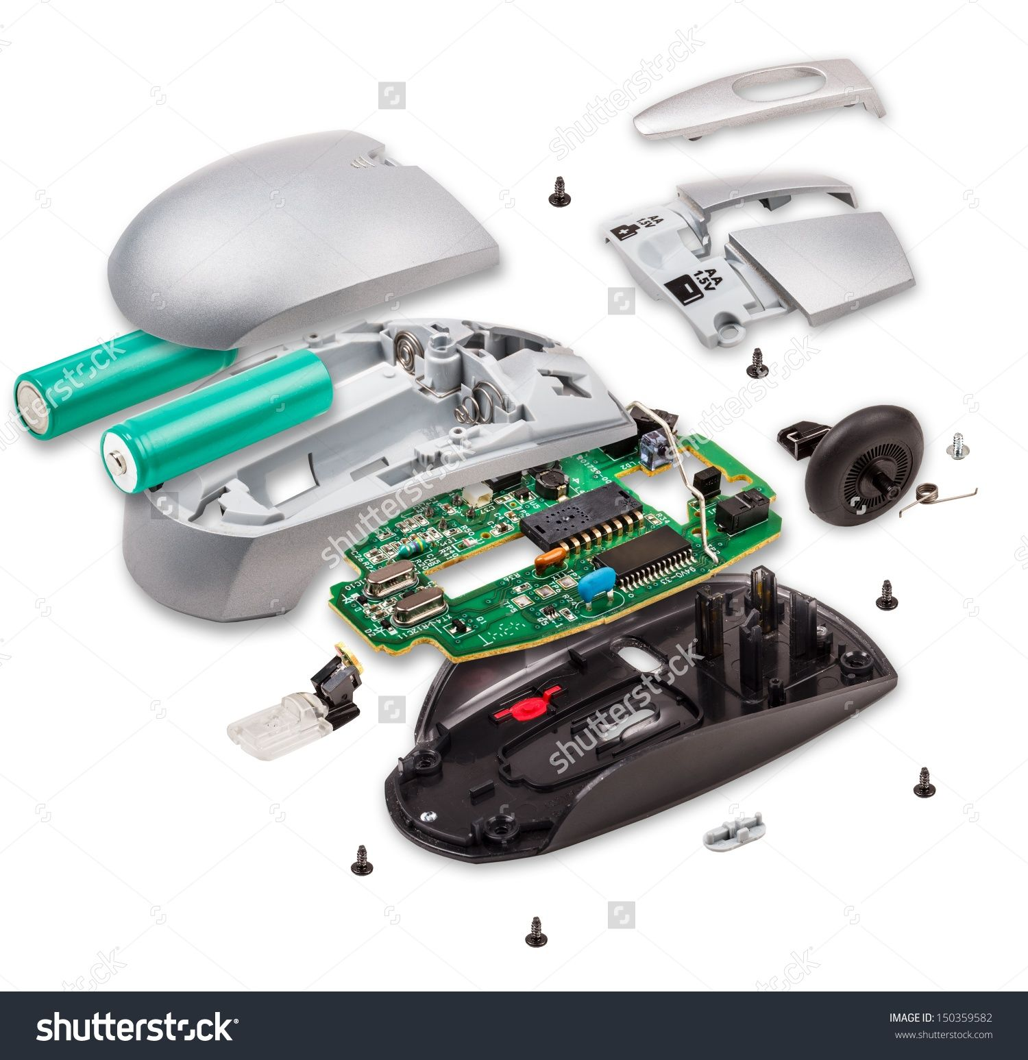 Explode View Of Wireless Computer Mouse On White Background Stock Foto 150359582 Exploded View Wireless Computer Mouse Custom Gaming Computer