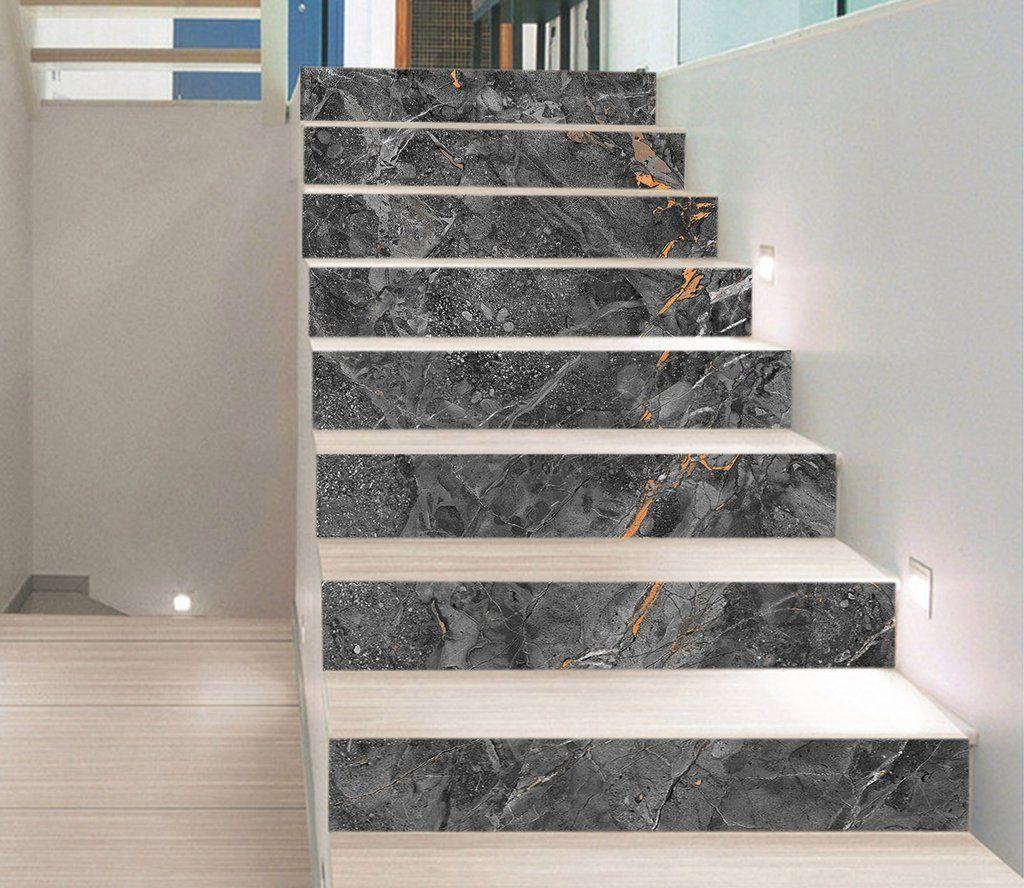 3d Broken Gray 6851 Marble Tile Texture Stair Risers Aj Wallpaper Home Stairs Design Marble Flooring Design Stair Risers