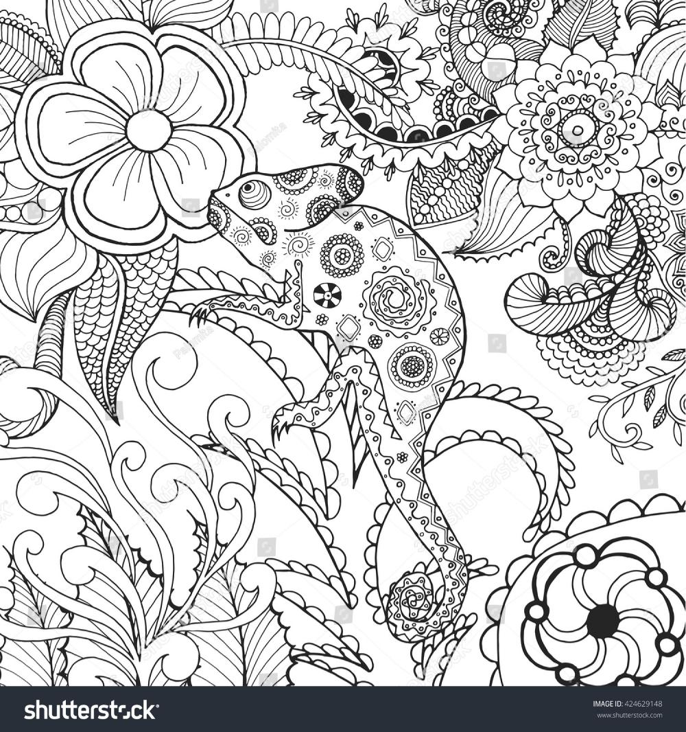 Стоковая векторная графика «Cute Chameleon Fantasy Flowers