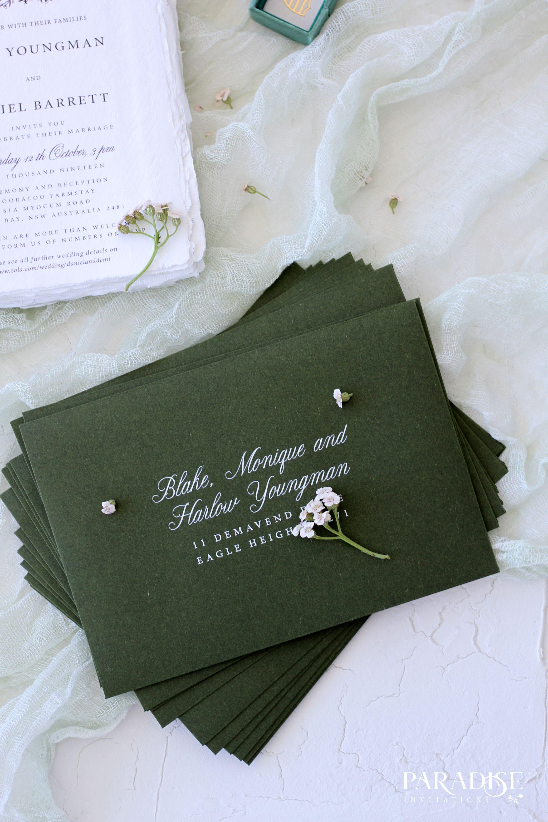 Elegant Dark Green Envelopes Wedding Stationery Weddingstationery Envelopes Wedd Green Wedding Invitations Dark Green Wedding Wedding Invitation Envelopes