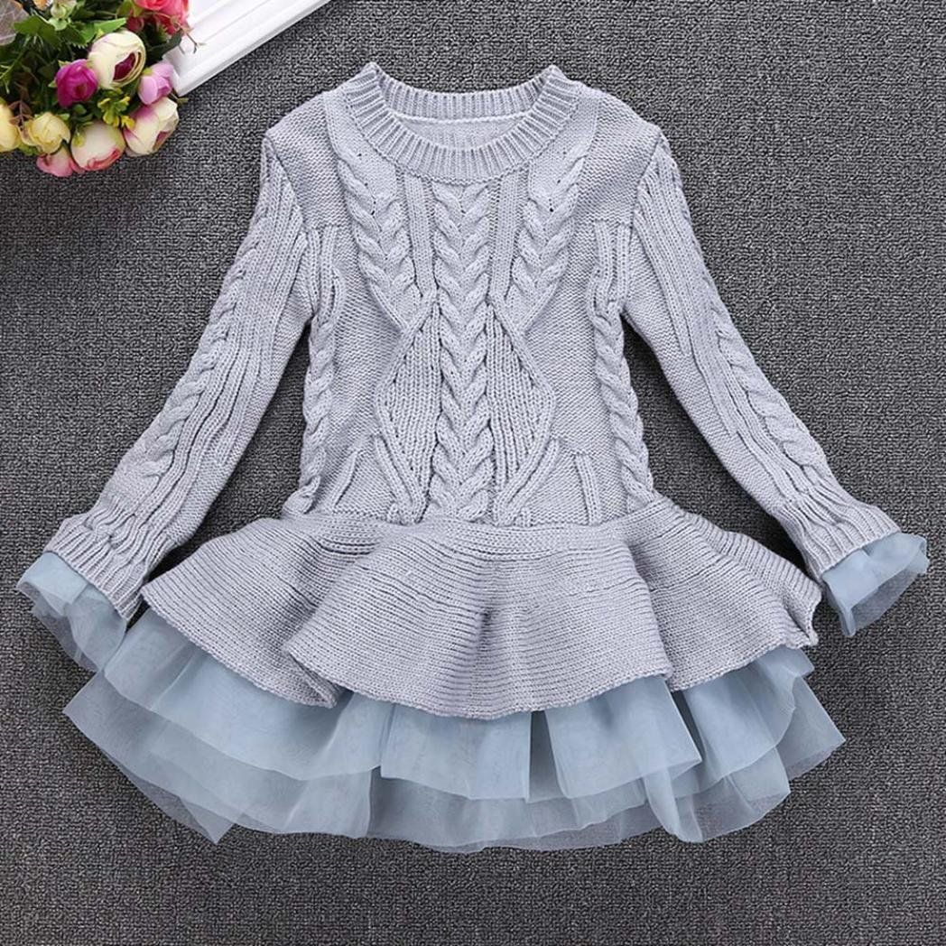 Kids Baby Girls Knitted Sweater Winter Pullovers Crochet Tutu Dress Lace Clothes