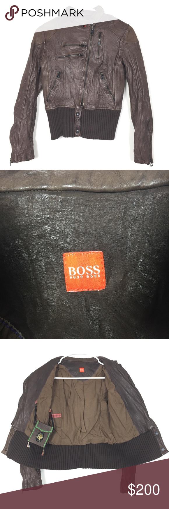 HUGO BOSS sz 4 women's distressed leather Moto (With