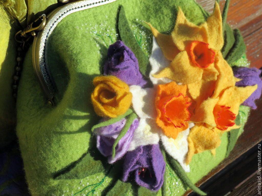 """Купить Комплект валяный """"Весна!! Весна!!!"""" - весна, нарциссы, крокусы, подснежники, первоцветы, весенние цветы"""