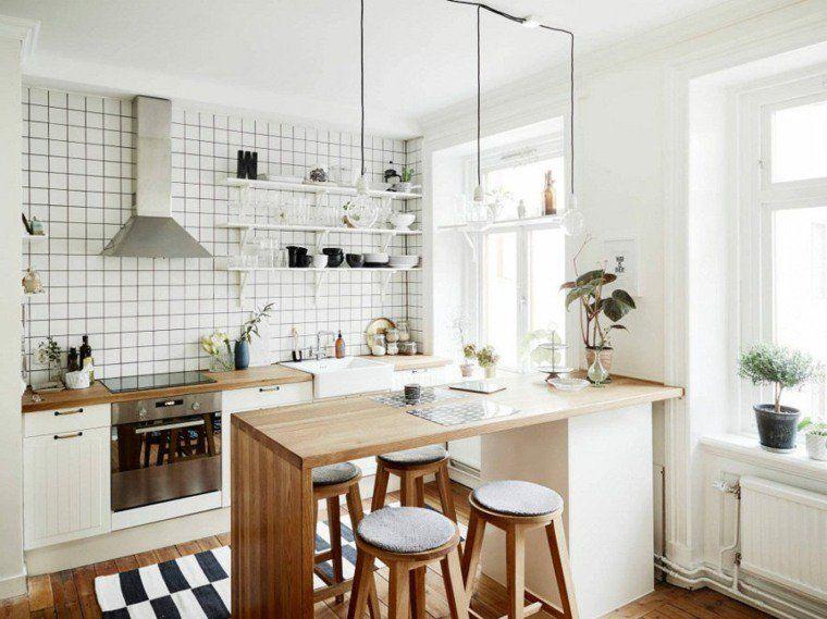 Ilot Cuisine Design Nordique Peninsule Chaise Bois Bar Small Apartment Kitchen Kitchen Remodel Small Small Apartment Kitchen Decor