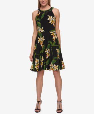 TOMMY HILFIGER Tommy Hilfiger Floral-Print A-Line Dress. #tommyhilfiger #cloth # dresses