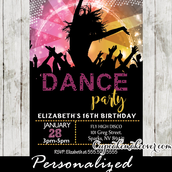 Personalised Birthday Invitations Street Dance Party x 5