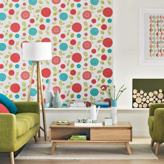 Retro Living Room Ideas retro living room with floral wallpaper | modern living room ideas