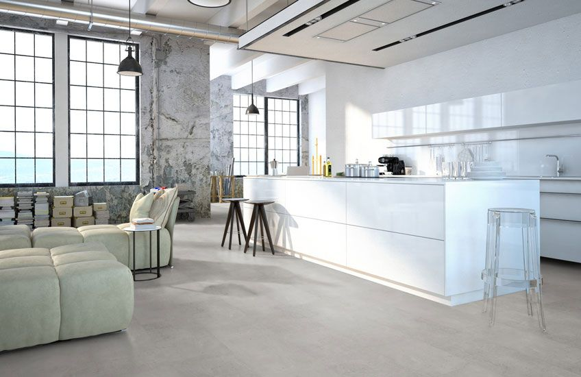 Home plus flex raw concrete grey loose lay pvc tegels