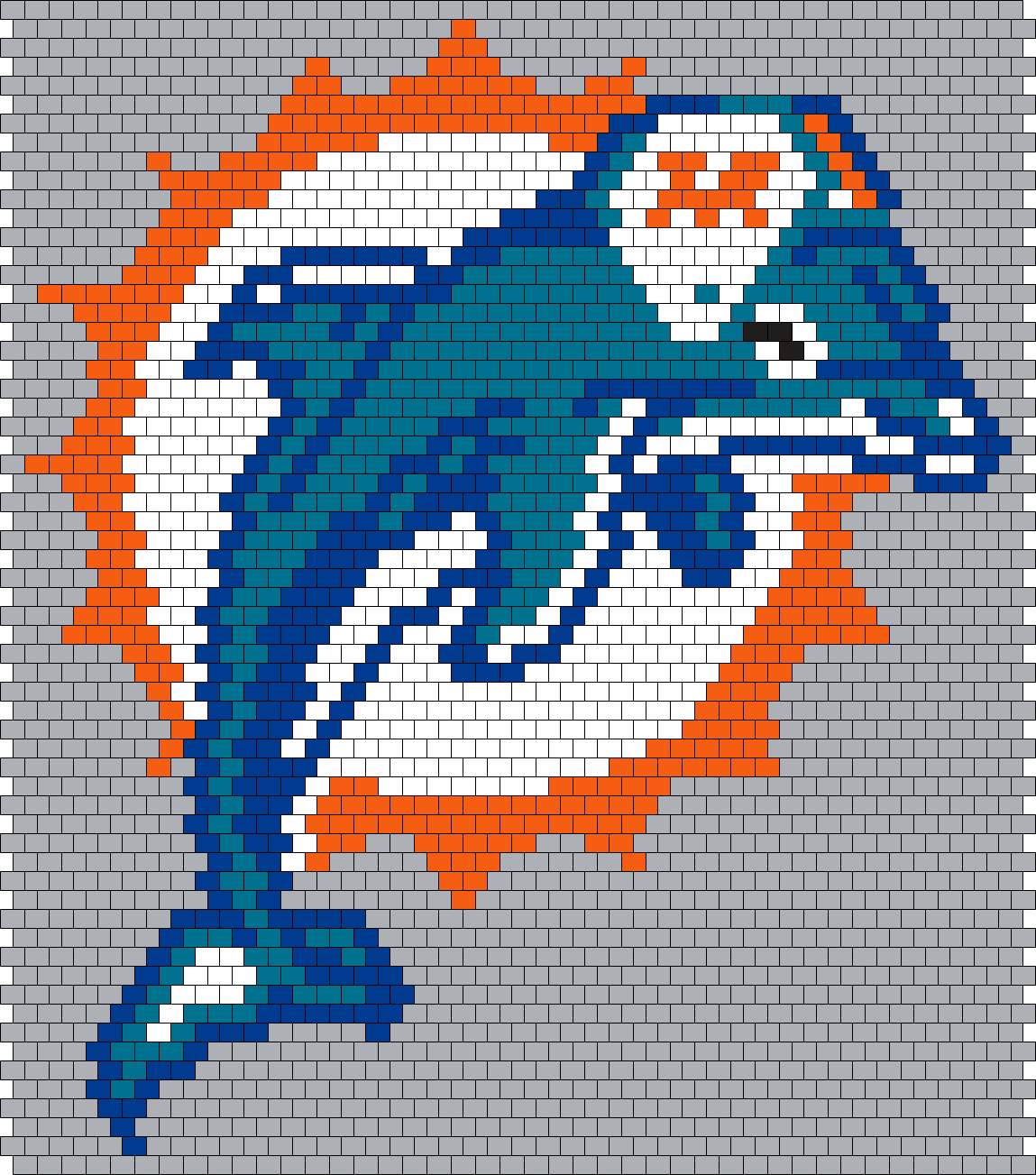 Miami Dolphins Logo (Peyote/Brick Stitch Pattern) | Cross stitch ...