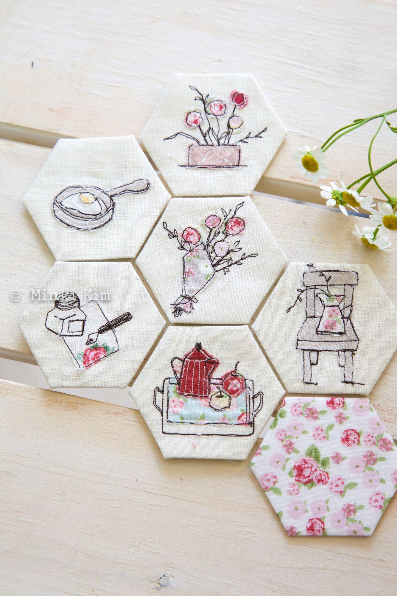 Minki s Work Table Sewing Illustration