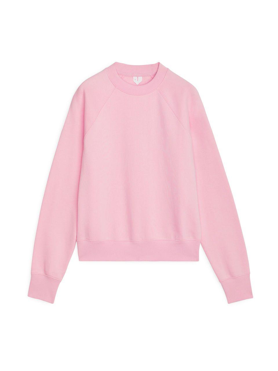 Pima Cotton Sweatshirt Light Pink Tops Arket Fr Cotton Sweatshirts Light Pink Tops Pink Crewneck Sweatshirt