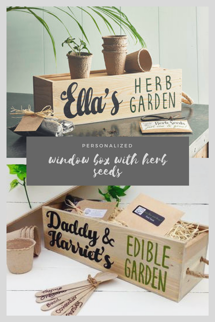 Personalized Window Box With Herb Seeds Perfect Gift For