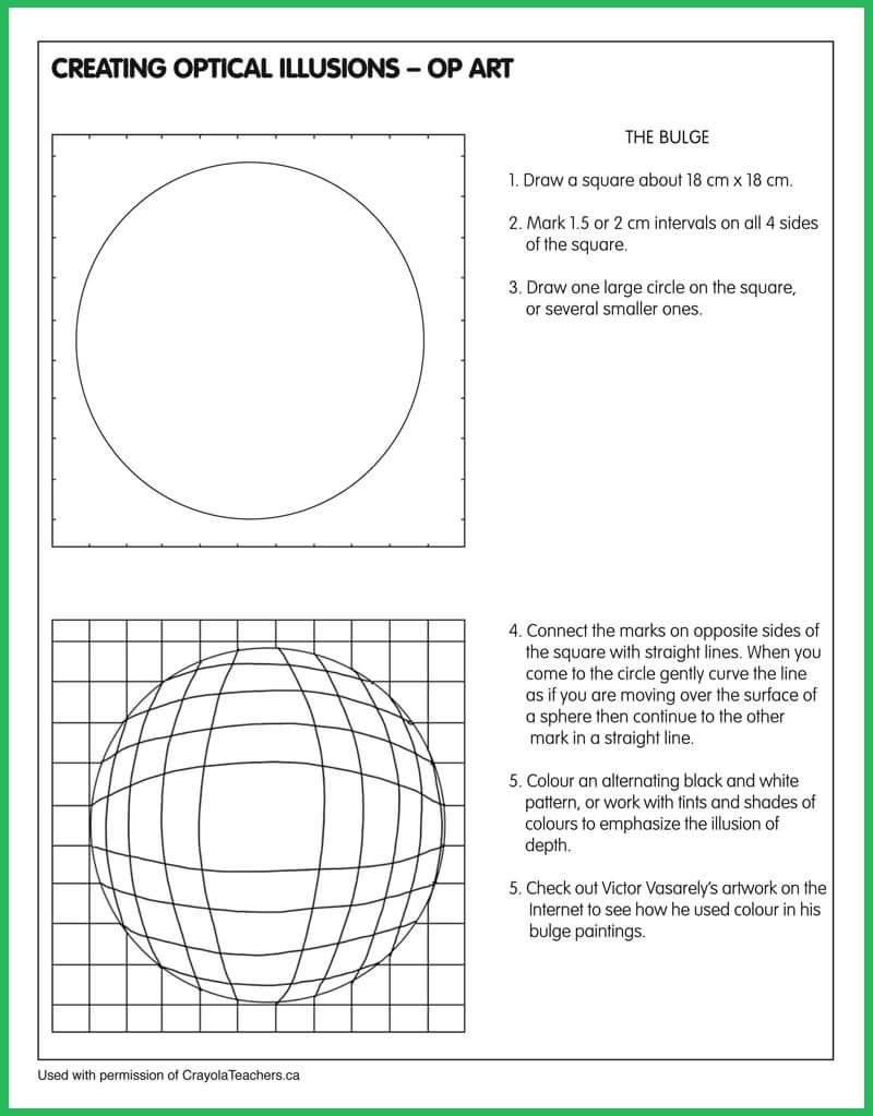 Worksheets Optical Illusion Worksheets optical illusion bulge class pinterest illusions op art and bulge