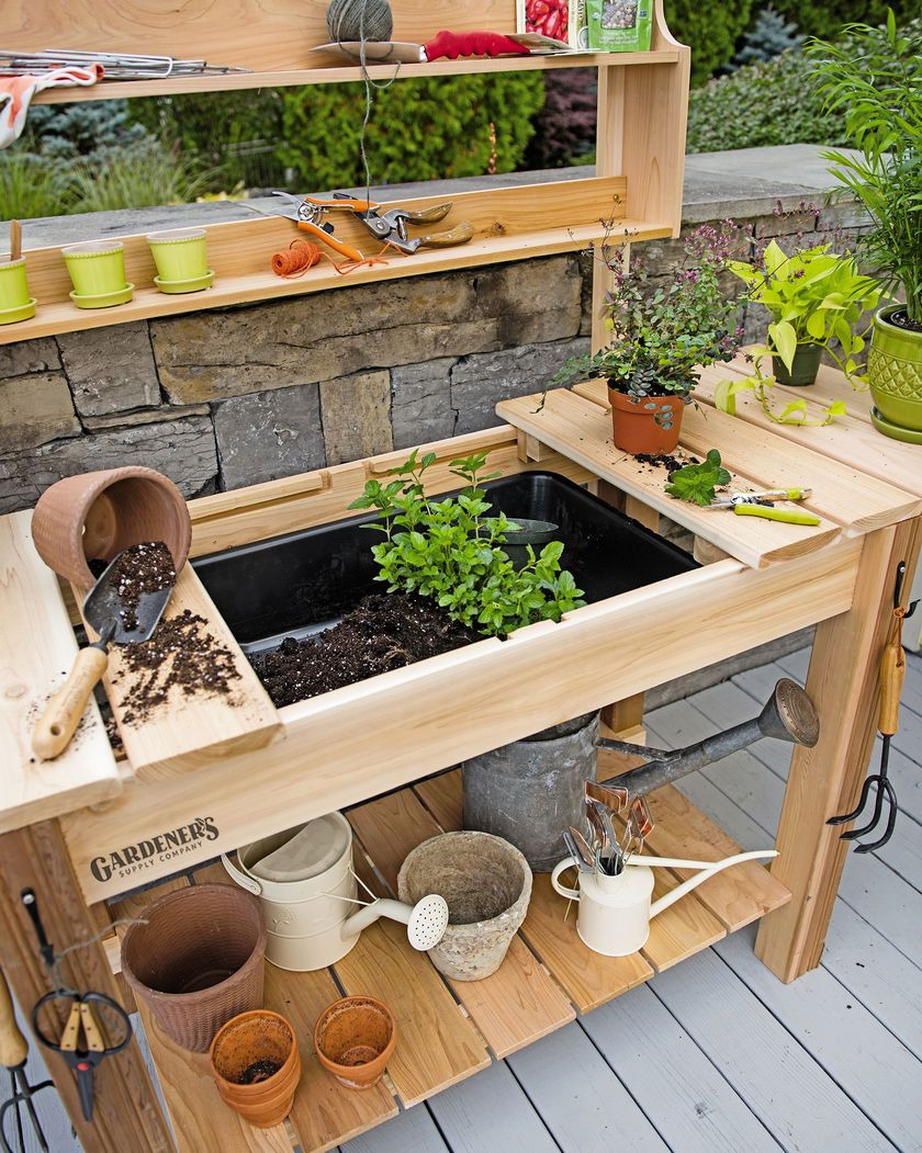 Potting bench cedar potting table with soil sink and shelves diy pinterest potting for Diy garden table designs