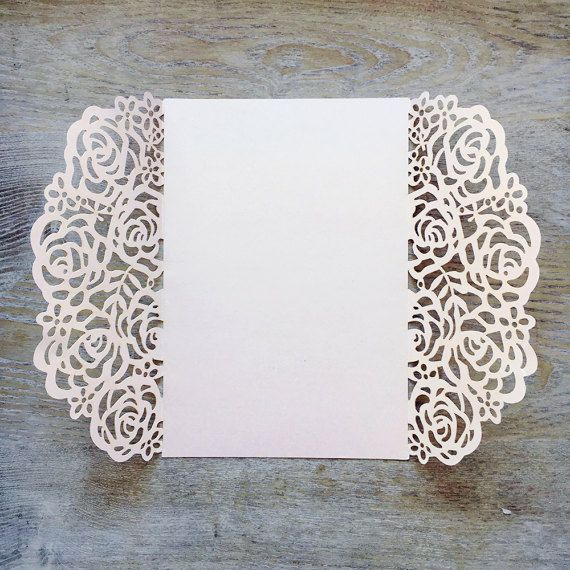Diy Laser Cut Roses Gatefold Invitation Wedding Invitations Elegant Lace