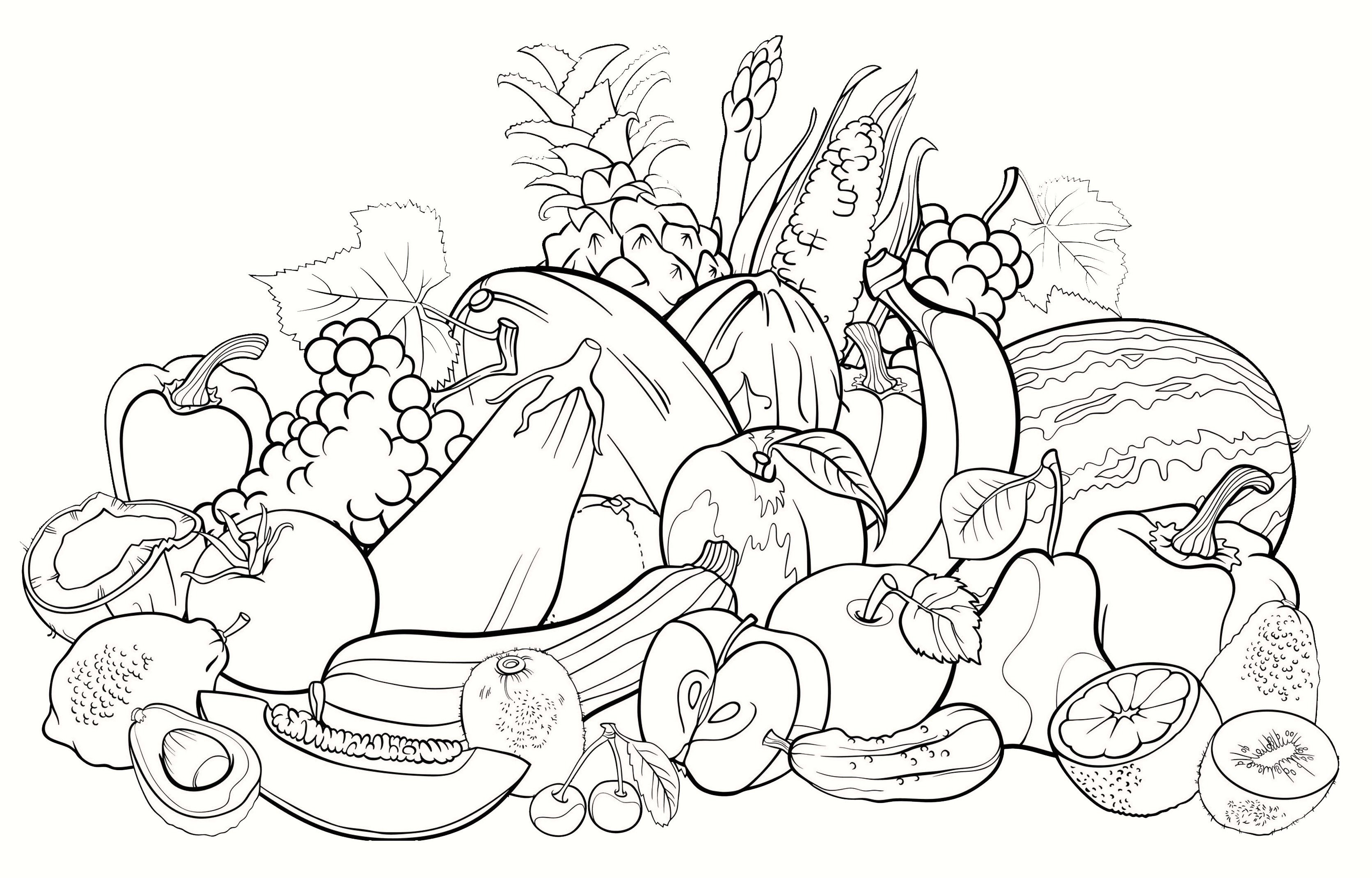 Pin By Mihaela Ferentz On Fruits And Their Name Coloring Pages Fruit Coloring Pages Vegetable Coloring Pages Coloring Books