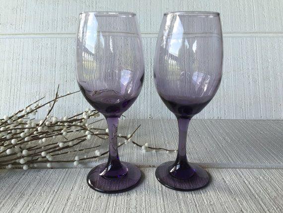 2 vintage purple wine glasses purple toasting glasses wedding