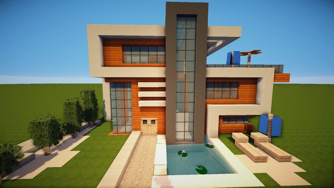 Grosses Schones Modernes Minecraft Haus Bauen Tutorial German Avec Minecraft House Tutorials Minecraft Modern Minecraft Houses