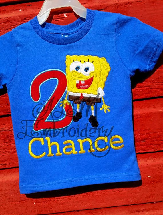 Spongebob Birthday Number Applique T Shirt By AEMembroidery