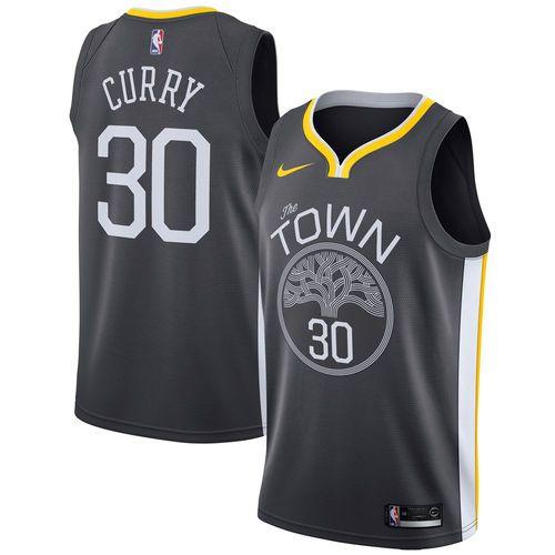 Men's Golden State Warriors Stephen Curry Nike Black Swingman Jersey  Statement Edition